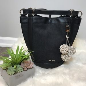 Nine West Black Denim Bucket Backpack Bag